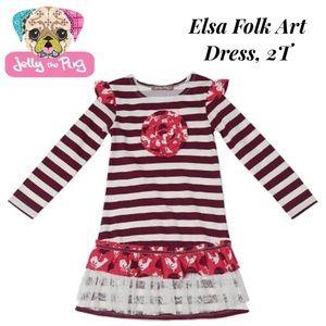 Just In! NWT Jelly the Pug Elsa Folk Art Dress 2T